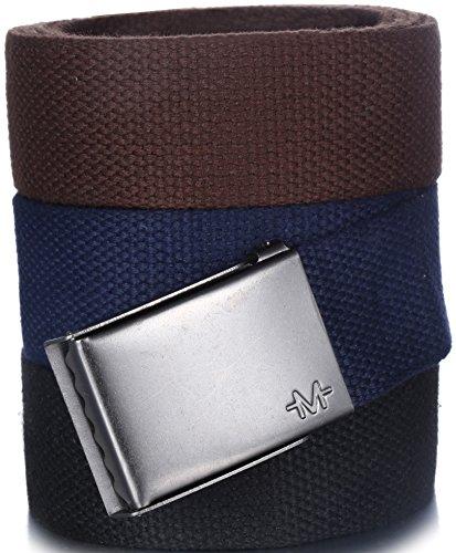 Marino Men's Web Belt Cotton with Beer Bottle Opener Belt Buckle, 3 Pack, In Elegant Gift Box - Black-Navy-Brown - Custom: Up to 44