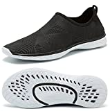 RUNSOON Men Women Water Shoes for Beach Swim Diving Aqua Sport Boating Sailing Surfing Walking Yoga Exercise, S06 Black 40