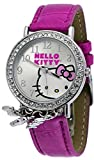 Hello Kitty #HK1830C Women's Pink Leather Strap Crystal Accented Charm Analog Watch