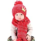 Clearance! Baby Girls Boys Warm Knit Hat Toddler Crochet Pom Pom Beanie Cap with Scarf (Red)