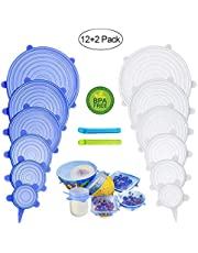 PHYLES 12pcs Stretchy Food Lids, Reusable Silicone Stretch Lids for Food/Bowls/Containers/Jars, Eco Alternative to Cling Film, BPA Free, Non-Toxic, Microwave & Dishwasher Safe, with 2pcs Food Clips