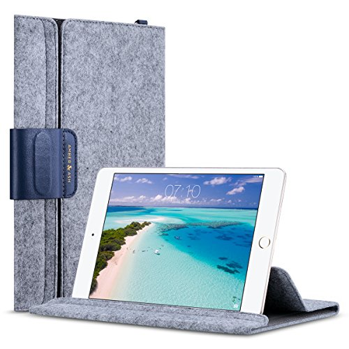 iPad Mini Sleeve Case for iPad Mini 1, 2, 3, 4 and 7 to 7.9 Tablet, Amber & Ash Ultra Slim Wool Felt Lightweight Cover Bag, Multi Angle View, Magnetic Closure Genuine Leather Decor (Denim Navy)