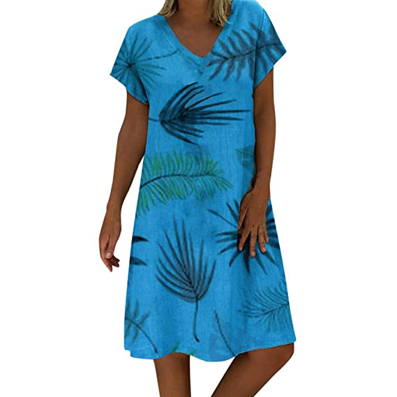 Damen Strandkleid Boho Kleider Sommerkleid Minikleid Party Halbarm Blumen Top