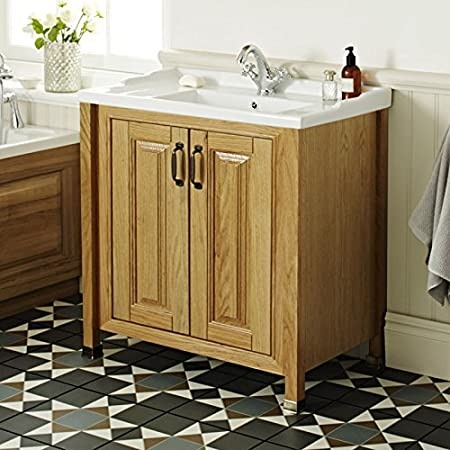 Grenville American Oak Solid Wood Vanity Unit With Ceramic Basin 800