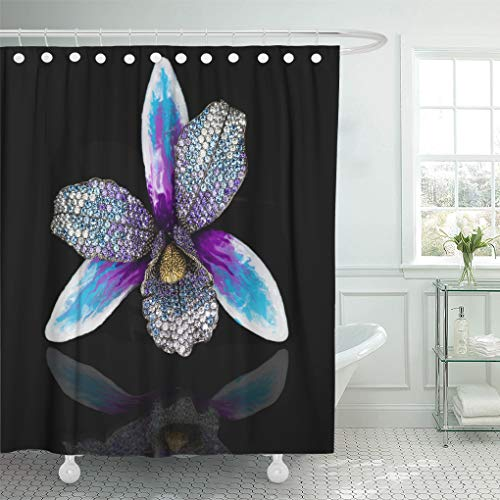 Emvency Shower Curtain Black Diamonds Jewelry Best for Loved Ones White Gold Shower Curtains Sets with Hooks 60 x 72 Inches Waterproof Polyester Fabric
