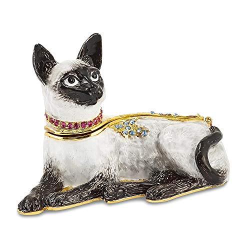 Bejeweled Crystal Enameled Siamese Cat Trinket Box ()