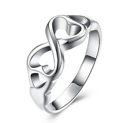 BODYA anillo, chapado de plata, joyas para mujeres, doble corazón, lazo, anillo de promesa, fino, anillo de dedo de mano: Amazon.es: Joyería