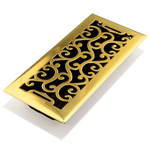 Accord AMFRPBC410 Charleston Floor Register, 4-Inch x 10-Inch(Duct Opening Measurements), Polished Brass