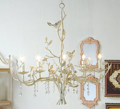 low priced c9465 07337 COUNTRY metal CHANDELIER antique white BIRDS electric ...