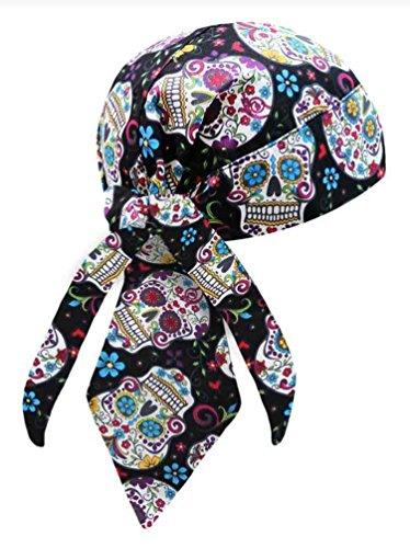Do Wrap Headwrap - That's A Wrap Women's Biker Sugar Skulls Black/Pastel Bandana Head Wrap. HW2951