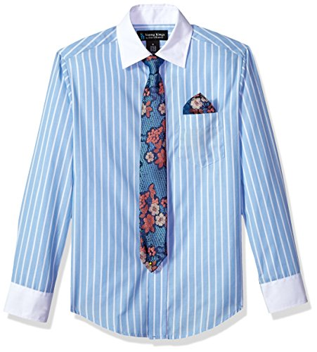 Steve Harvey Boys Big Long Sleeve Solid Shirt Tie Set