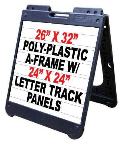 Poly A-Frame 26''x32'' Double Sided Sidewalk Sign w/Letter Track Panels & Letter Kit