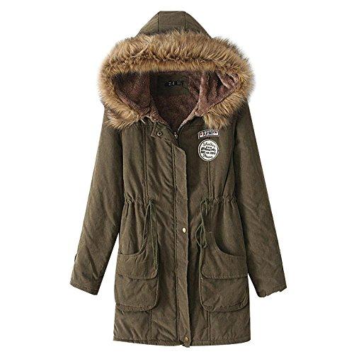 cuello las Verde gran de nuevo delgada capa sección con algodón del larga la capucha mujeres Invierno y piel de de de de chaquetas cordero tamaño ocasional Oq54EaFn