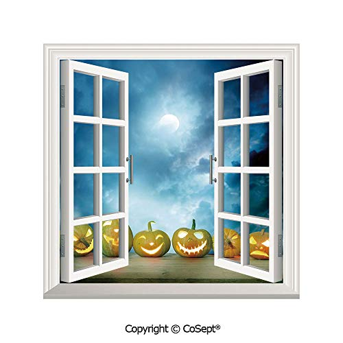 SCOXIXI Open Window Wall Mural,Spooky Halloween Pumpkins on Wood Table Dramatic Night Sky Print Decorative,for Living Room(26.65x20 -