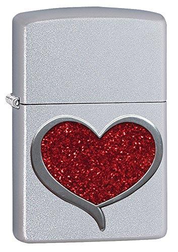 (Zippo Glitter Heart Pocket Lighter, Satin)