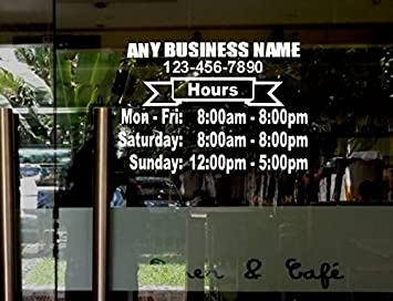 Amazoncom StickerLoaf Brand LARGE STORE HOURS X NAME CUSTOM - Large custom window decals for business