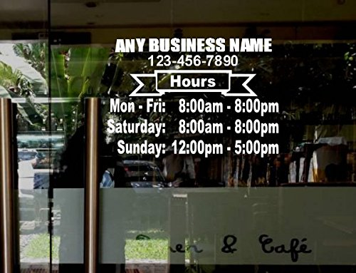 Amazoncom  StickerLoaf Brand LARGE STORE HOURS X NAME CUSTOM - Window clings custom business