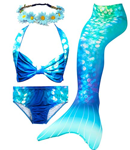 4Pcs Girl's Mermaid Tails Swimsuit Bikini Set Princess Swimming Bathing Suits Swimwear(Support Monofin) (Youth Large (fits Like 7-8), A Sea Blue)]()