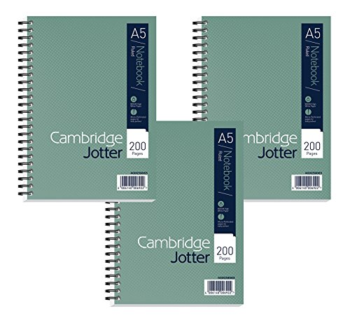 Cambridge A4 Jotter - Green (Pack of 3) A5