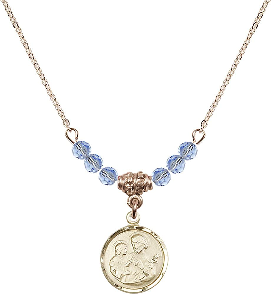 18-Inch Hamilton Gold Plated Necklace with 4mm Light Sapphire Birthstone Beads and Gold Filled Saint Joseph Charm.