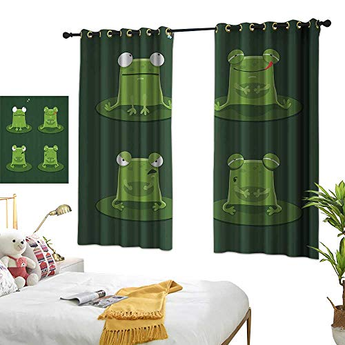 "Warm Family Light Luxury high-end Curtains Funny Decor Funny Muzzy Frog On Lily Pad in Pond Hunting Tasty Fly Expressions Cartoon Animal Theme Privacy Protection 72"" Wx63 L"