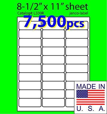 7500 Laser (Jenco-Label L330R, 7,500 Address Labels,Laser Inkjet Labels, 2-5/8x1)