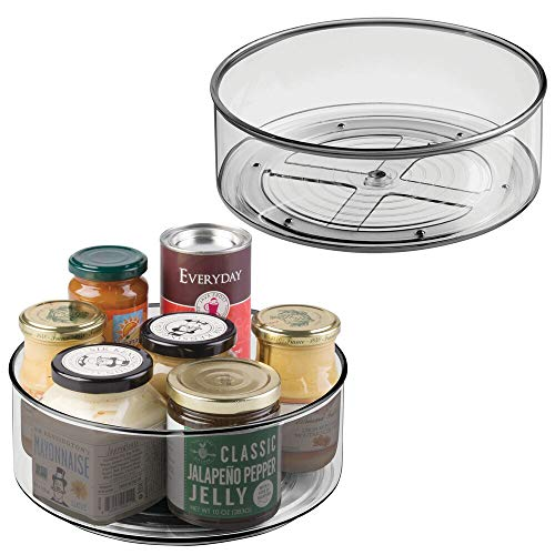 (mDesign Plastic Lazy Susan Spinning Food Storage Turntable for Cabinet, Pantry, Refrigerator, Countertop - Spinning Organizer for Spices, Condiments, Baking Supplies - 9