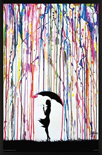 Girl Under Umbrella (Marc Allante Girl Blowing Dandelion Under Umbrella Paint Rain Modern Contemporary Decorative Art Print (Framed 24x36 Poster))