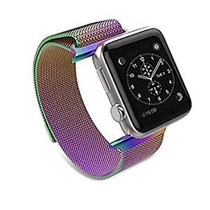 EWORLD Compatible with Apple Watch Band 38mm 40mm iWatch Steel Bands Milanese Loop Replacement for Series 4 3 2 1 - Multi Color