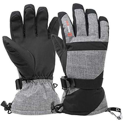 Ski Glove - Alpine Swiss Mens Waterproof Gauntlet Ski Gloves Winter Sport Snow Boarding Windproof Warm 3M Thinsulate