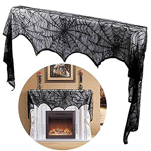 Ablawnct Black Lace Spiderweb Fireplace Mantle Scarf Cover with Lace Cobweb Tablecloth Runner for Halloween Decoration Halloween Parties Décor & Spooky Scary Parties (35 x 89 inch)