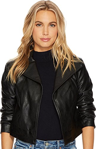 1.STATE Women's Cropped Faux Leather Jacket Black Small