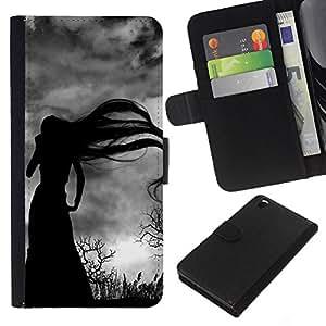 For HTC DESIRE 816 Case , Long Hair Witch Bare Trees Spooky - la tarjeta de Crédito Slots PU Funda de cuero Monedero caso cubierta de piel