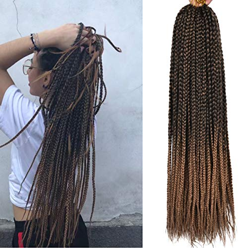 Alileader 6 Packs/Lot 22 Strands/Pack Ombre Box Braids Crochet Hair 20 Inch 1cm in Diameter 3X Synthetic Braiding Hair Extensions Crochet Braids Hair (Omber#27)