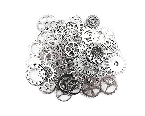 Price comparison product image Yueton 100 Gram (Approx 70pcs) Antique Steampunk Gears Charms Clock Watch Wheel Gear for Crafting (Silver)