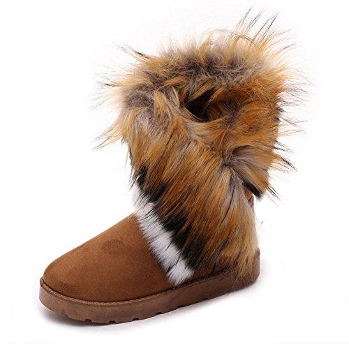 Jentene Pels Krage Rundt Tå Flate Boots Brun