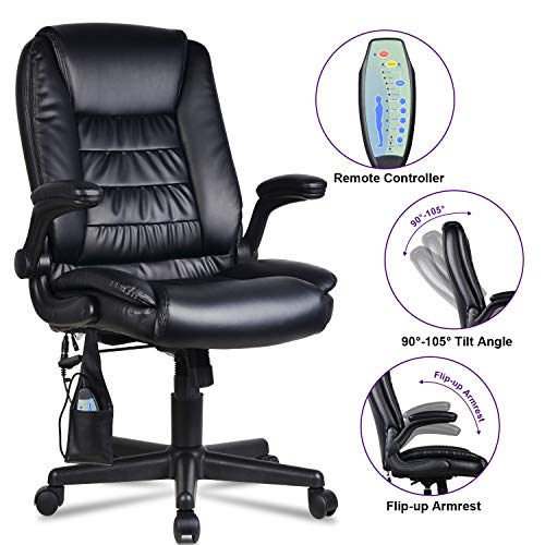 """LENTIA Office Massage Chair High Back Executive Chair Ergonomic Leather Computer Desk Chair with 6 Vibrating Point, Black (27.16"""" W × 28.34"""" D × 41.73-45.74"""" H)"""