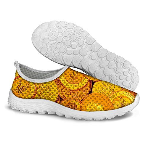 Shoes U Casual Unisexs Dollar Stylish Sneaker FOR DESIGNS 1 Mesh Print Running Coin Yellow TPZPgxw