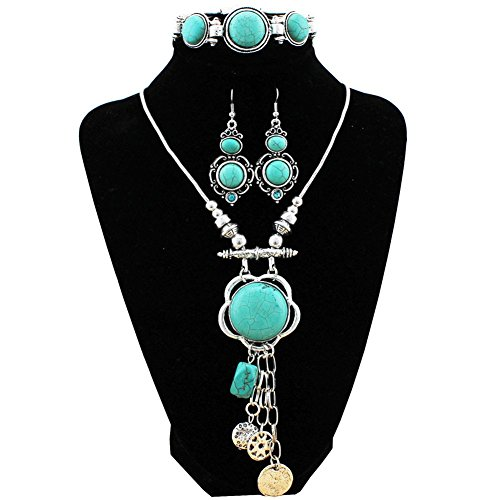 XY Fancy Flower Turquoise Jewelry Sets Vintage Look Tibetan Silver Alloy Delicate Necklace Bracelet Crystal Earring S001