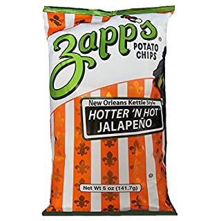 Zapp's New Orleans Kettle-Style Potato Chips, Hotter 'n Hot Jalapeno – Crunchy Chips with a Spicy Kick, Great for Lunches or Snacking on the Go, 5 oz. Bag (Pack of 12)
