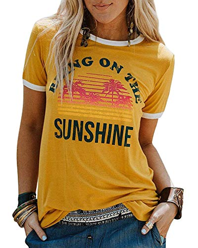 Qrupoad Womens Bring On The Sunshine Letter T-Shirt Summer Causal Graphic Tees Yellow