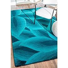 nuLOOM 200SEMA66A-508 Handmade Leaves Turquoise Wool Rug