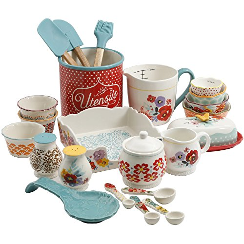 The Pioneer Woman Flea Market 25-Piece Ceramic Pantry Essential Set Adds Elegant Style To Kitchenware (Set Includes 3pc Silicone Tool Set, 7in Utensil Crock, 7.4in Napkin Box, 6.4in Covered Butter Dis