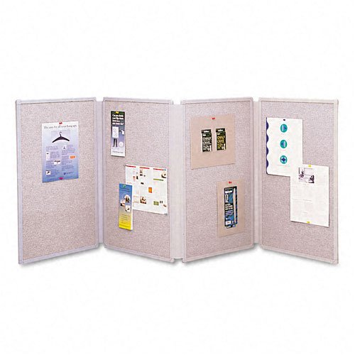 Quartet Tabletop Fabric - Quartet : Tabletop Display Presentation Board, Fabric, 72 x 30, Gray -:- Sold as 2 Packs of - 1 - / - Total of 2 Each