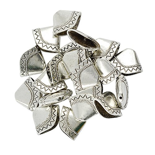 Homyl 20 Pieces Antique Silver Totem Leaves Tower Sector Spacer Beads Cap Tassels End 27 X 13 X 7.5mm, 1.5mm Hole Size, For Jewelry Making Craft DIY Pendant Earring Findings Components ()