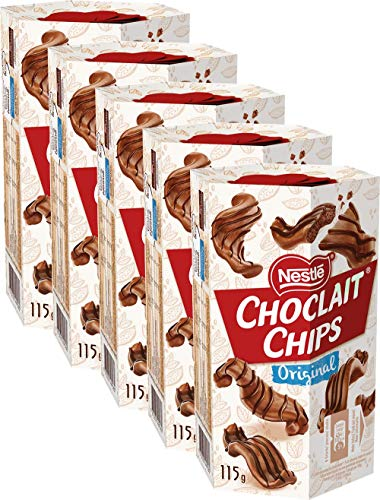 Nestlé Choclait Chips Schokochips Milchschokolade, 5er Pack (5 x 115g)