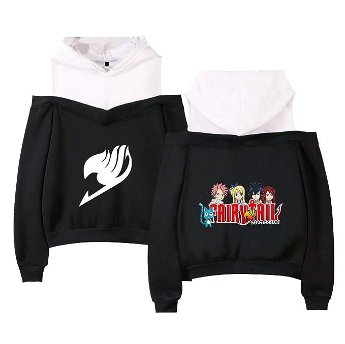 Unisex Fashion Fairy Tail Sudaderas para Mujeres y Hombres Color Solido Redondo Suelto Jerseys Sudadera con Capucha Fuera del Hombro Sudaderas: Amazon.es: ...