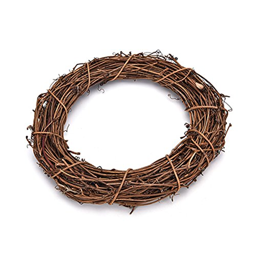 LKXHarleya Oval Grapevine Wreath DIY Craft, Natural Twig Grape Branch Vine Wreath Wedding Supplies Home Party Decoration, 4 Inch / 6 Inch / 8 Inch