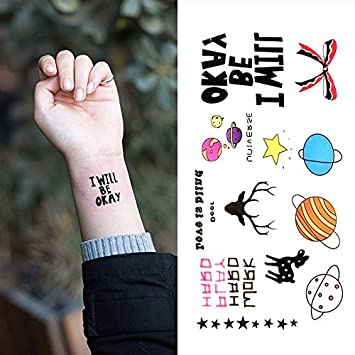 Amazoncom Oottati Small Cute Temporary Tattoo Planet Deer Star