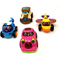 HK Toys Friction Powered Toddler Baby Toy Push and Go Car, Helicopter, Plane, Train Vehicles Toys Gift for Kids (4 PCS)
